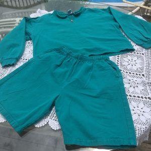 Vintage 80/90s jean shorts cropped hoodie set teal